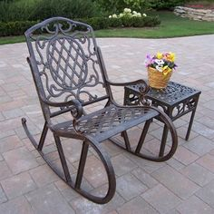 cheap oakland living mississippi cast aluminum 2 piece rocking set in antique bronze with 18 inch side table Outdoor Rocking Chairs, Wicker Chairs, Patio Chairs, Patio Dining, Dining Chairs, Sectional Furniture, Wicker Furniture, Outdoor Furniture Sets, Iron Furniture