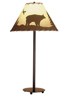 29 Inch H Bear In The Woods Painted Table Lamp