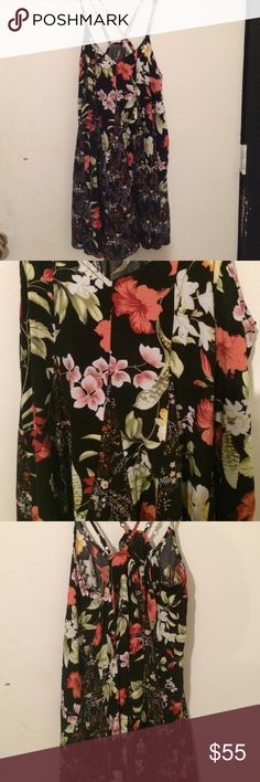 new Arrival NWT Umgee USA Rayon swing dress Laurel style swing floral dress in black size small by Umgee USA for Goldfinch Boutique, adjustable double spagetti straps, slip style neckline, full swing body, breathtakingly beautiful Umgee Dresses