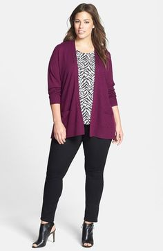 Sejour Cardigan & Shell, NYDJ Moto Skinny Pants (Plus Size)  available at #Nordstrom