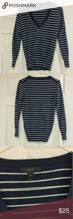 J.CREW   NAVY STRIPED SWEATER Basic navy and white striped V neck lightweight sweater. Perfect for cooler spring evenings. J. Crew Sweaters