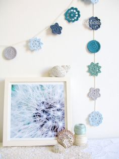 Nellie, coastal cottage chic, crochet flower garland in soothing ocean blues, nautical home decor as featured in Good Homes (ready to ship) Crochet Lamp, Crochet Bunting, Crochet Garland, Knit Or Crochet, Crochet Flowers, Amigurumi Patterns, Crochet Patterns, Cottage Chic, Coastal Cottage