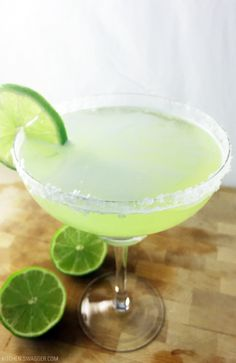 Delicious original margarita recipe on the rocks with silver tequila.
