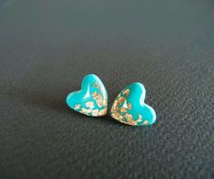 Tiffany Heart Stud Earrings - Polymer Clay and Resin Jewelry on Etsy, $16.00