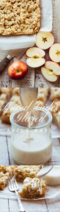 Spiced Cider Glazed Apple Bars ~ these buttery shortbread crumble bars are stuffed with juicy SweeTango apples and drizzled with an outrageous spiced cider glaze! #apples #dessert #shorbtread #applecrumblerecipe #appledessert #spicedcider #sweetango #easyappledessert #applecrisp #applepie #applepiebars #applebars #bestapplebars #fall #falldessert