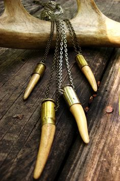 Real Bullet casing necklace with Deer Antler point