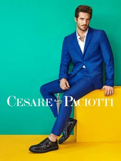 Justice Joslin charms in a striking blue suit for Cesare Paciotti's spring-summer 2016 campaign.