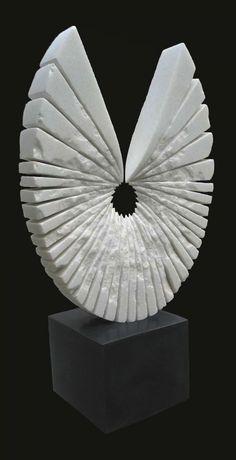 White marble Conceptual Art Sculptures #sculpture by #sculptor SAVA C Marian titled: 'PORTE-BONHEUR white marble' £5167 #art
