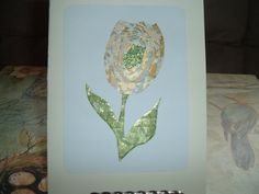 Iris Folding Tulip done in a gold/silver and by DeesGreetingCards, $4.50