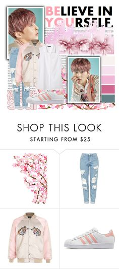 """""""Lucky one Xiumin"""" by ninaxo17 ❤ liked on Polyvore featuring Oris, Topshop, adidas Originals and Banana Republic"""