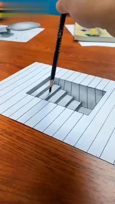 Drawing and Painting Techniques 3d Pencil Drawings, 3d Art Drawing, Art Drawings Sketches Simple, 3d Pencil Art, Easy 3d Drawing, Stairs 3d Drawing, Hole Drawing, Pencil Sketches Easy, Easy Disney Drawings