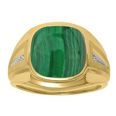 Diamond and Green Malachite Men's Large Ring In Yellow Gold Father's Day 2015 Unique Jewelry Gift Presents and Ideas. Gemologica.com offers a large selection of rings, bracelets, necklaces, pendants and earrings crafted in 10K, 14K and 18K yellow, rose and white gold and sterling silver for that special dad. Our complete collection and sale of personalized and custom gifts for dad: www.gemologica.com/mens-jewelry-c-28.html