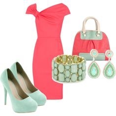 coral and mint - everything but the purse