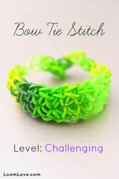 How to Make the Rainbow Loom Bow Tie Stitch Bracelet. http://www.mastermindtoys.com/Rainbow-Loom-and-Related-Products.aspx