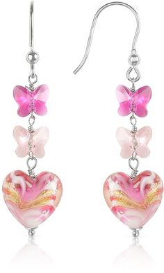 House of Murano Mare - Pink Murano Glass Heart Drop Earrings