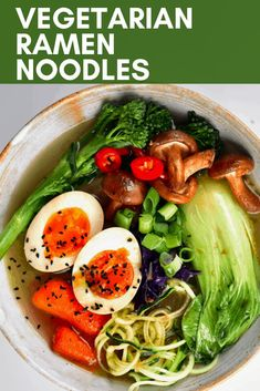 A simple and delicious Japanese-inspired vegetarian ramen noodle soup recipe. Packed with vegetables and plenty of flavour for a satisfying, healthy ramen meal. Healthy Ramen, Vegetarian Ramen, Vegetarian Recipes, Healthy Meals, Ramen Recipes, Asian Recipes, Beef Recipes, Ethnic Recipes, Homemade Vegetable Broth