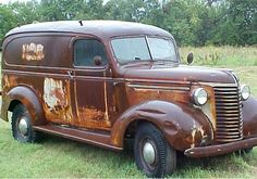 classic trucks for sale | This old Panel truck had ben left to Rusty away in a corn field ...