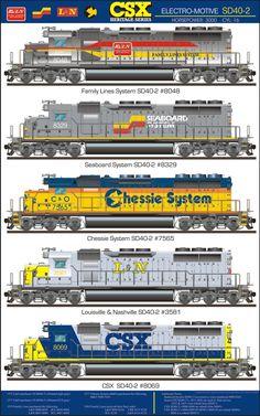 CSX SD40 Railroad Poster