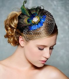 Peacock Bridal Hair Accessory Cobalt Sapphire Blue Feather Fascinator Birdcage Veil Wedding Headpiece Cocktail Hat
