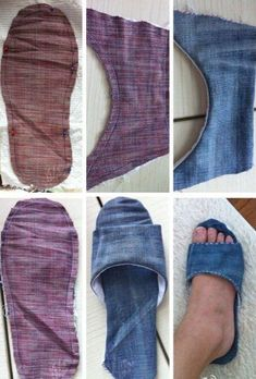 Recycled denim slippers Adorable idea-I'd just make the bottom part more thick & firm.Repurposed old denim jeans into new denim SlippersLife Instyle is Australia's premier boutique trade event that houses some of the best brands and products in the Diy Jeans, Jeans Denim, Jean Crafts, Denim Crafts, Vetements Clothing, Denim Ideas, Denim Shoes, Denim Sandals, Recycled Denim