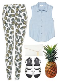 """""""Pineapple Crush"""" by bamaannie ❤ liked on Polyvore featuring Topshop, Talula, Henri Bendel, FRUIT, Summer, denim and topshop"""