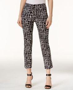 Alfani Petite Printed Capri Pants, Only at Macy's - Black 16P
