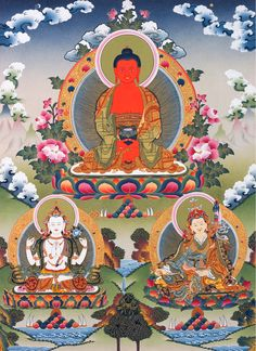 Amitabha Buddha with Chenrezig and Padmasambhava seated below.