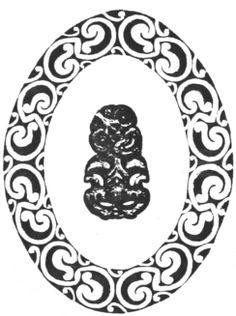 163. Tiki (in Maori pattern border) Canterbury Museum