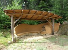 strawbale wall outdoor seating - Google Search