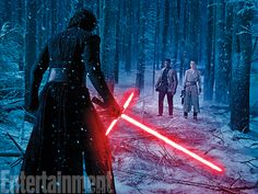 "Now we see there's a third element to Finn's snowy, woodlands duel with Adam Driver's Kylo Ren. Rey is part of the battle, too. We don't know how she fits in (although this looks a lot like the trailer shot of her weeping over a fallen friend), but as the Darth Vader-obsessed villain ignites the unstable blade of his saber, the untrained Finn is looking pretty unsure of himself. ""Obviously that makes things a bit more tricky for Finn,"" Boyega says. ""That's genuine fear."""