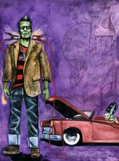 Combination of my favorite character Frankenstein's mobster, rockabilly and cars