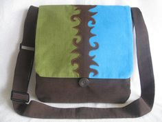 Brown/olive/turquoise abstract corduroy messenger bag