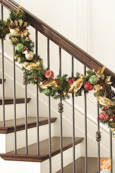 Decorate and hang this garland in your entryway, over the fireplace or anywhere that needs a holiday touch. This beautiful banister features 50 clear LED lights, pine-cones, red berries and glitter burlap ribbon.