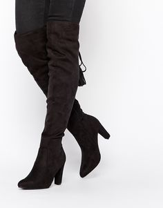 Missguided+Heeled+Over+The+Knee+Boot+with+Lace+Up+Back