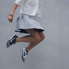 Skirt: minimalist, sporty chic, jacket, shoes, grey, silver, nike, asos - Wheretoget
