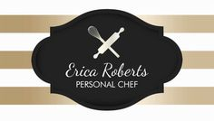 Personal Chef Gold Stripes With Whisk and Rolling Pin Logo Business Cards https://www.zazzle.com/pastry_chef_whisk_rolling_pin_bakery_catering_business_card-240202932988209933?rf=238835258815790439&tc=GBCCooking1Pin