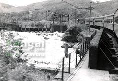 Trem Xangai passando pela represa da Cemig (Centrais Elétricas de Minas Gerais) no rio Paraibuna, no trecho entre Juiz de Fora e Matias Barbosa, após a estação de Retiro
