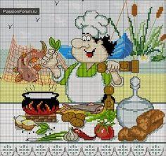 Schema punto croce Cuoco con il pesce | Hobby lavori femminili - ricamo - uncinetto - maglia