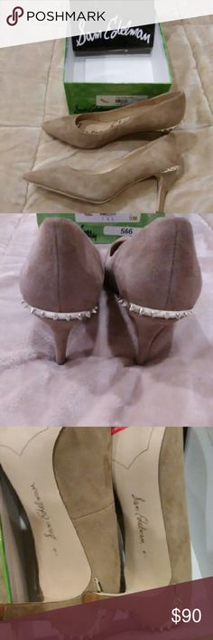 Sam Edelman Shoes Brand new. Size 9. My hubby bought them for me and they don't fit me. Beautiful tan suede shoes  with studs on back. Purchased at Nordstrom. Sam Edelman Shoes Heels