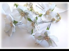 ШПИЛЬКИ ДЛЯ ВОЛОС с ЦВЕТАМИ, МК / DIY Flowers Hairpins - YouTube