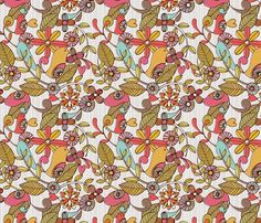 Birds and flower fabric by valentinaramos for sale on Spoonflower - custom fabric, wallpaper and wall decals