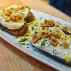 The original toast. Crostini - Whipped ricotta, honey, black pepper and toasted hazelnuts at Nook. Simple and good.  #Vancouver #FMFNook
