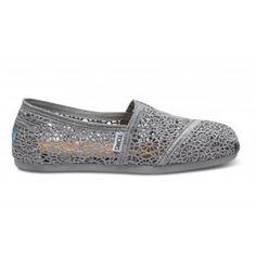 Toms Shoes Silver Crochet Women's Classics Toms Shoes - WholesalePanda