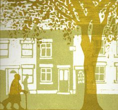 woman by yellow cottages original linocut by starmagnolialino, £20.00