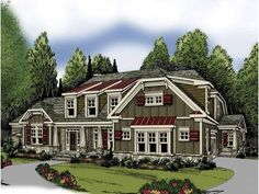Craftsman House Plan with 3763 Square Feet and 4 Bedrooms from Dream Home Source | House Plan Code DHSW62902