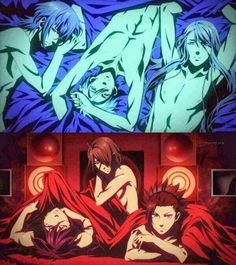 Kamigami no Asobi ~~ These sexy images from the ED animation show actual male nipples! Almost unheard of in anime... YUM.