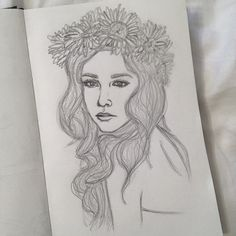 """Flower Crown. 5"""" x 8"""" sketchbook. Graphite pencils. 2014. By: Marissa Asal (The_Lovely_Drawing on Instagram)"""