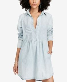 Denim & Supply Ralph Lauren Pintucked Chambray Cotton Dress - Faded Indigo Wash L