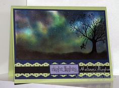 "By Melissa Banbury. Use Stamping Sponges on Whisper White cardstock. Begin sponging with lightest colors first, working from bottom of the cardstock upwards, ending with darkest colors to help create the shadows & depth in the sky.  Finish the sky by adding stars with a white gel pen.  Sponge the grassline in Basic Black ink & add the stamped image from stamp set ""Forever Young."""