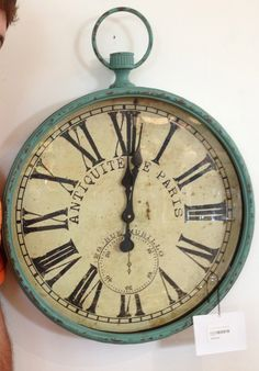 Vintage French Soul ~  Clock with temperature by the pool